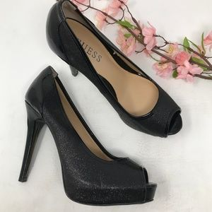 Guess Black Peep Toe Sparkly Heels Pumps Size 7.5